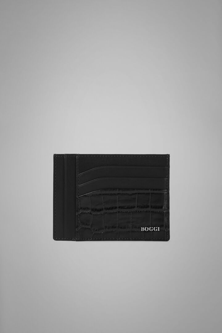 Large Faux Croc Print Leather Credit Card Holder, Black, hi-res