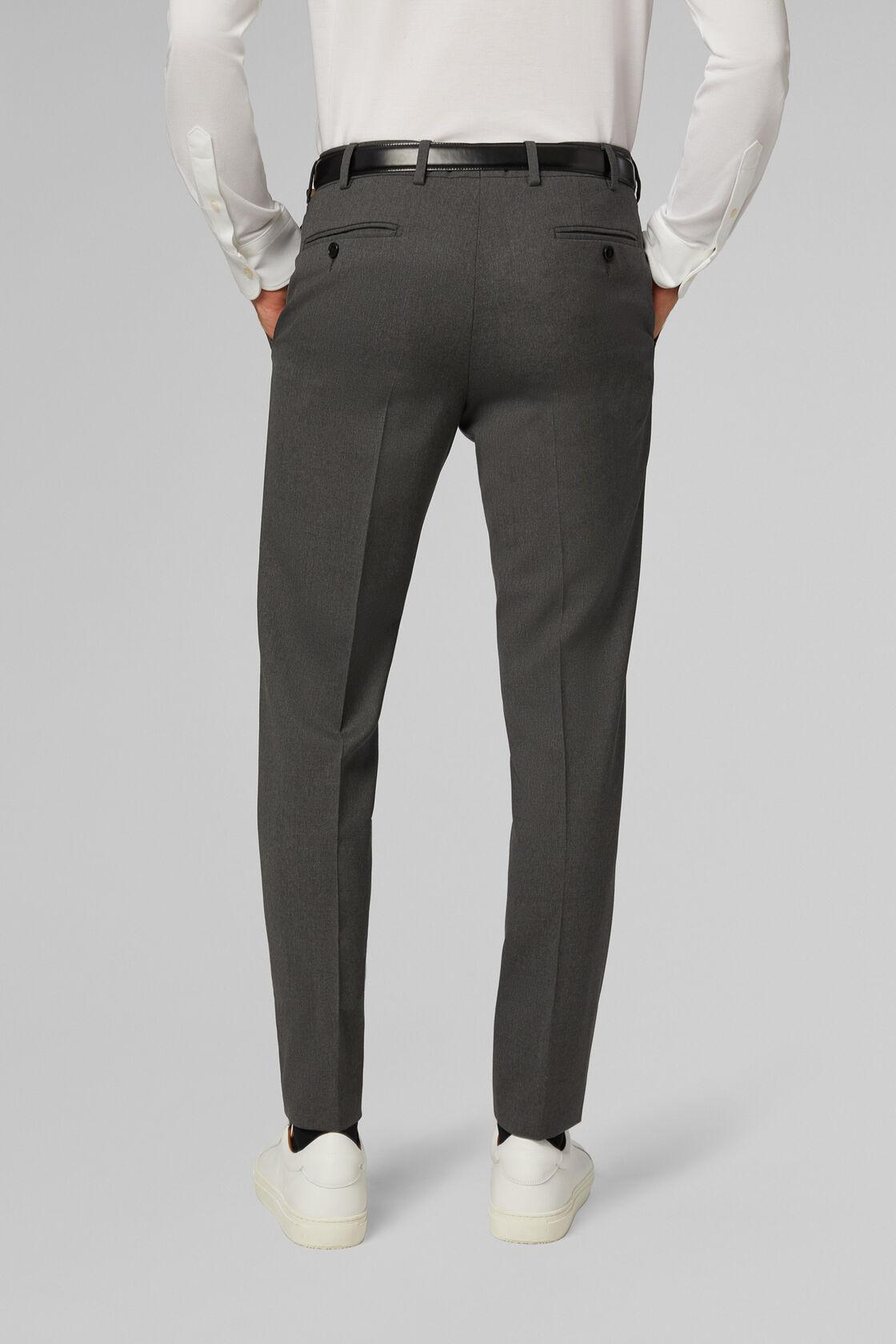Pantalone Da Abito Grigio In Lana Travel Slim, Grigio, hi-res