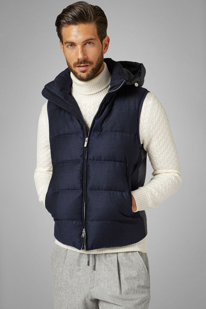 Sleeveless Wool And Nylon Down Jacket With Hood, Navy blue, hi-res