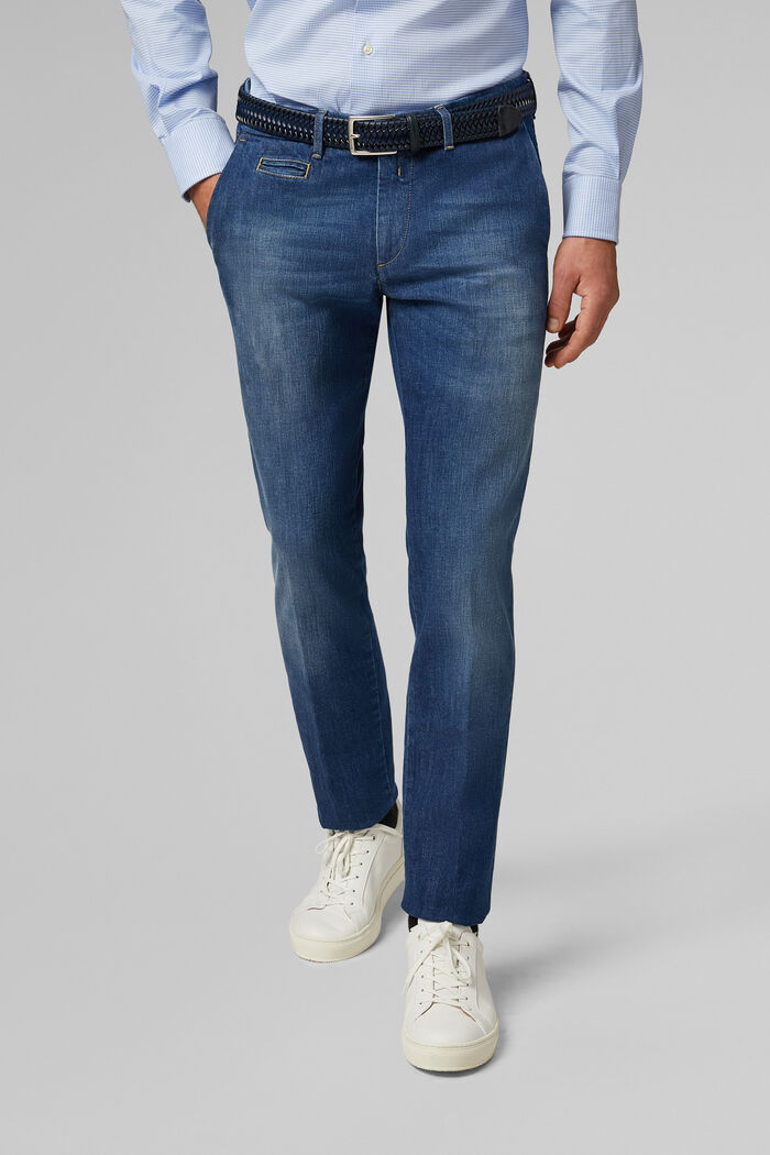 JEANS AUS BAUMWOLLSTRETCH MEDIUM WASH SLIM FIT, , hi-res
