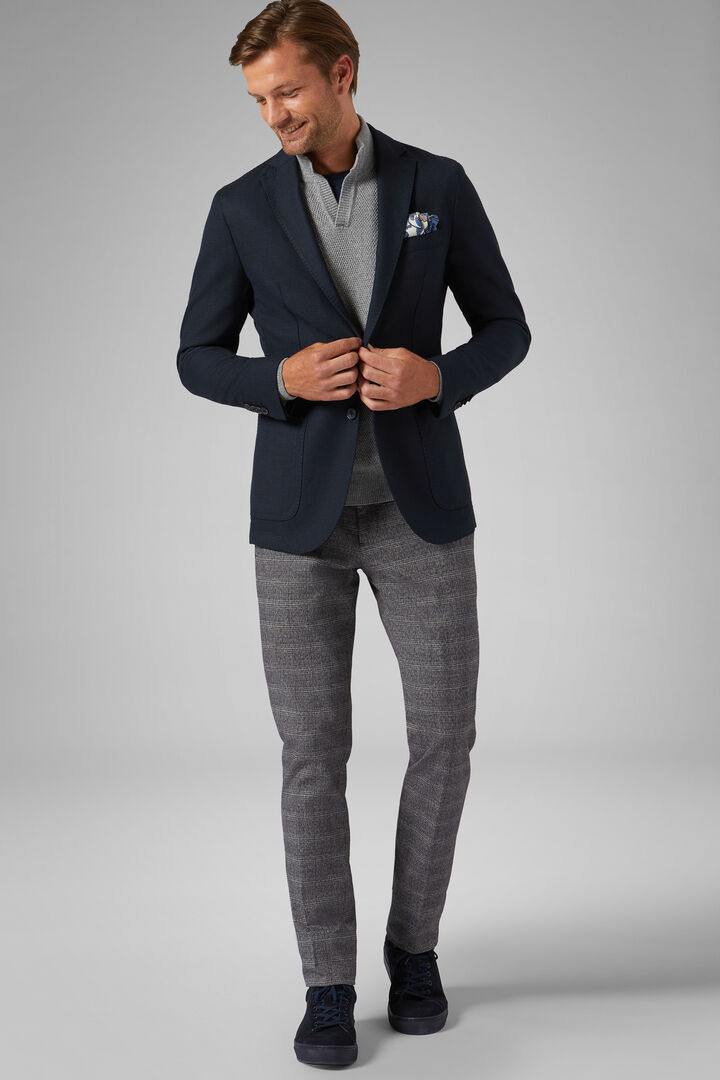 Blue Wool Blend Brescia Blazer, Blue, hi-res