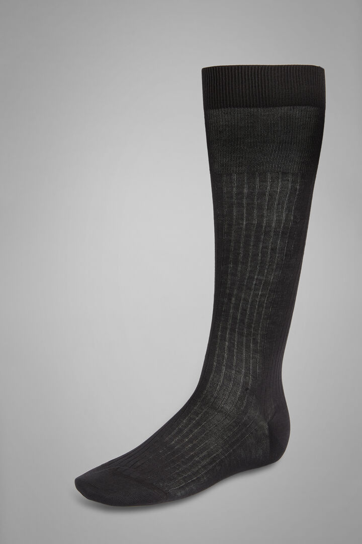 Ribbed Long Socks, Charcoal, hi-res