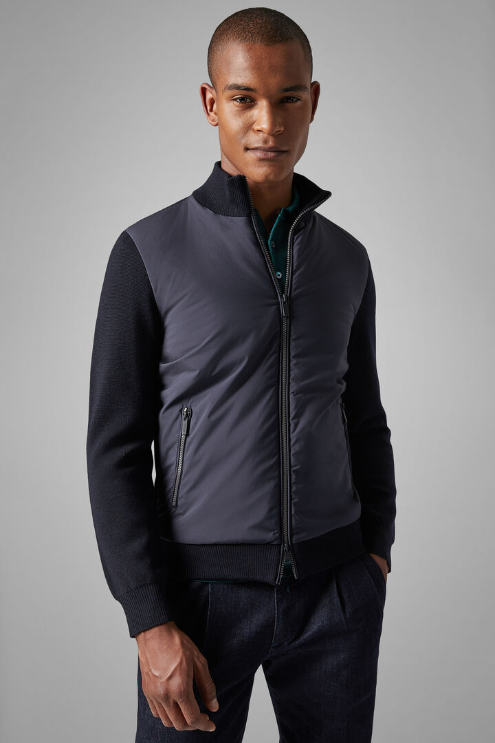 Merino Wool And Nylon Full Zip Jacket, Navy blue, hi-res