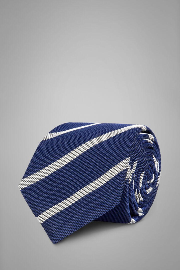 Regimental Silk/Cotton Jacquard Tie, Blue - White, hi-res