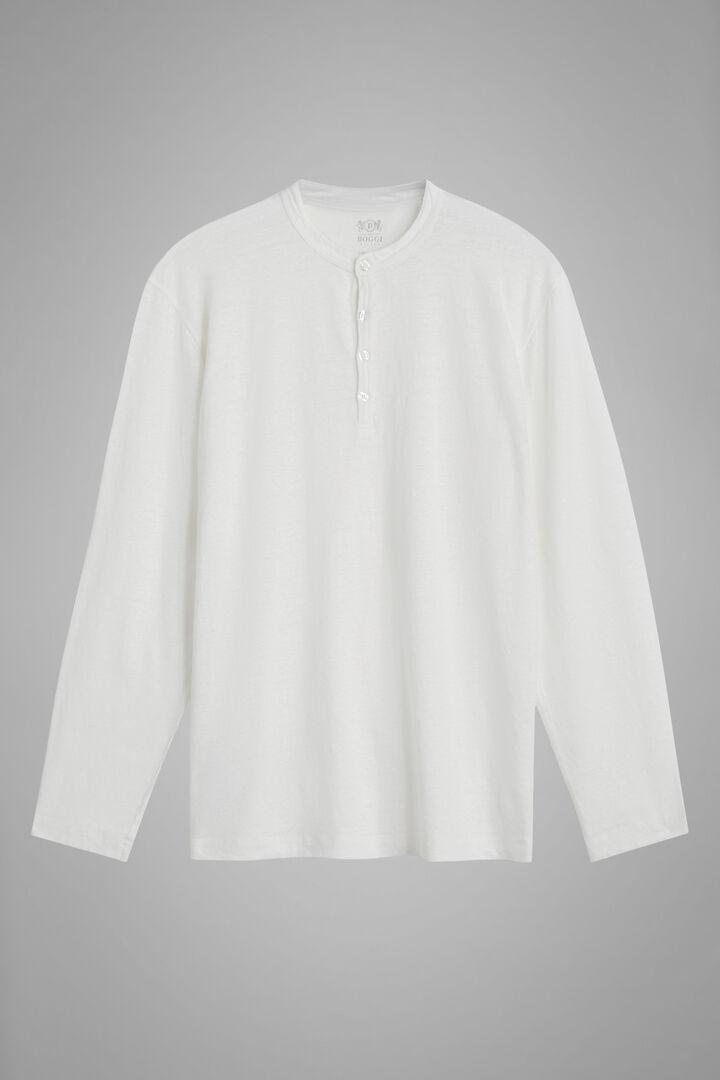 White Stretch Linen Jersey Grandad Collar T-Shirt, White, hi-res