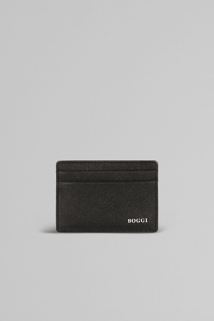 Caviar Print Leather Credit Card Holder, Black, hi-res