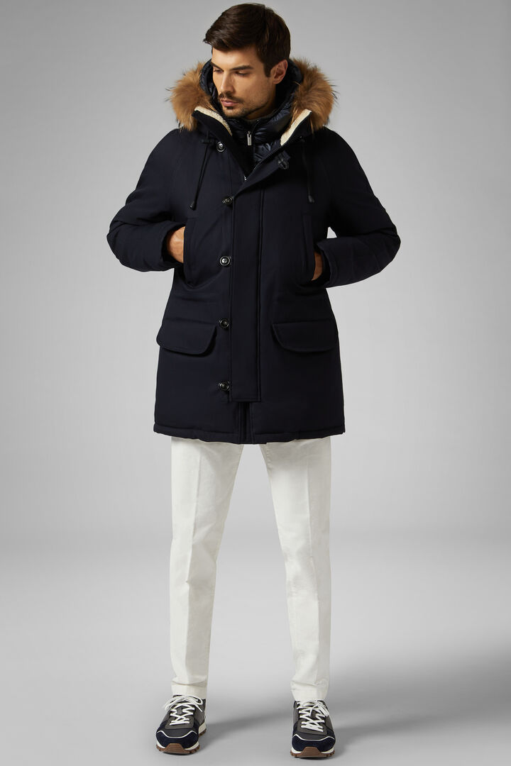 Technical Down Parka With Hood, Navy blue, hi-res