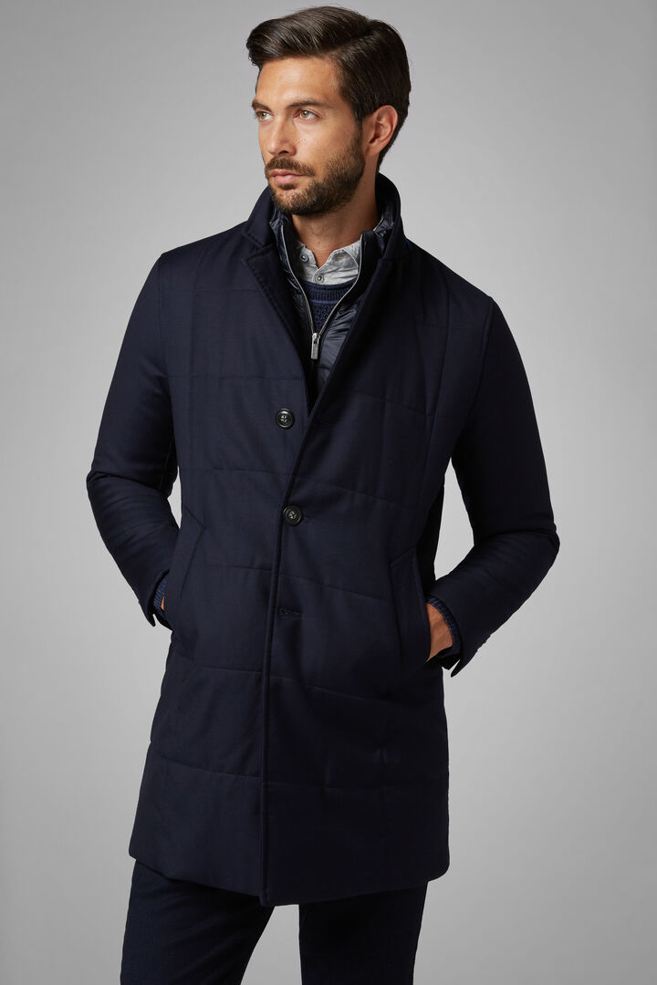 Quilted Wool Coat With Bib, Navy blue, hi-res