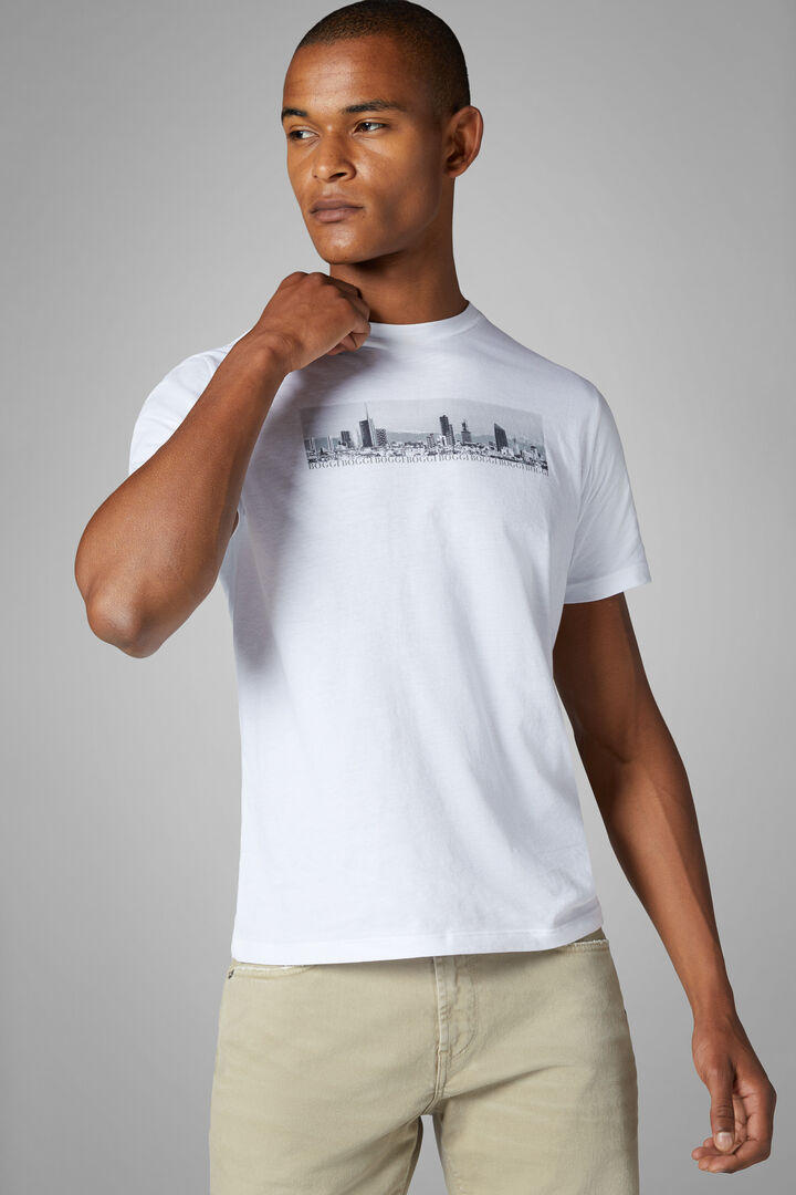 White Cotton Blend T-Shirt, White, hi-res