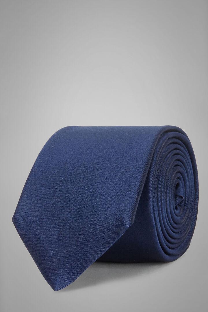 Cravatta In Raso Di Seta 7 Cm, Blu, hi-res