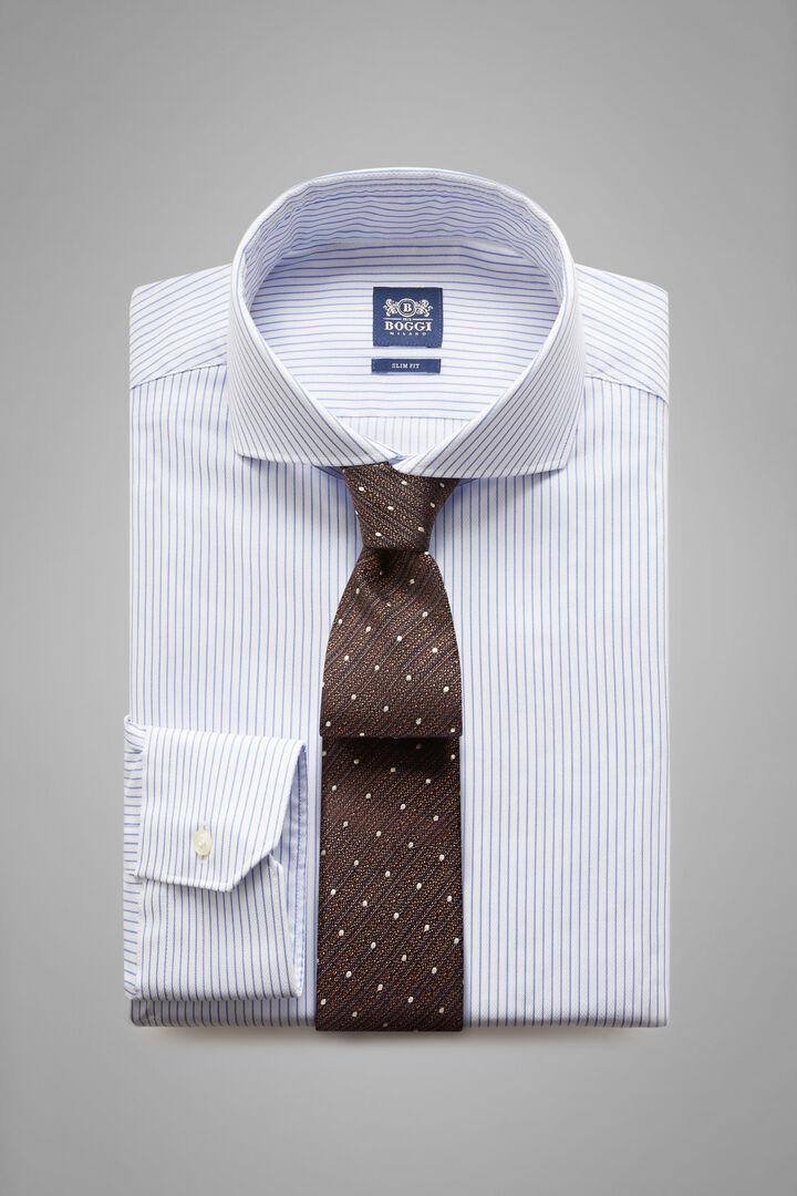 Camicia A Righe Azzurre Collo Napoli Slim Fit, Bianco - Azzurro, hi-res