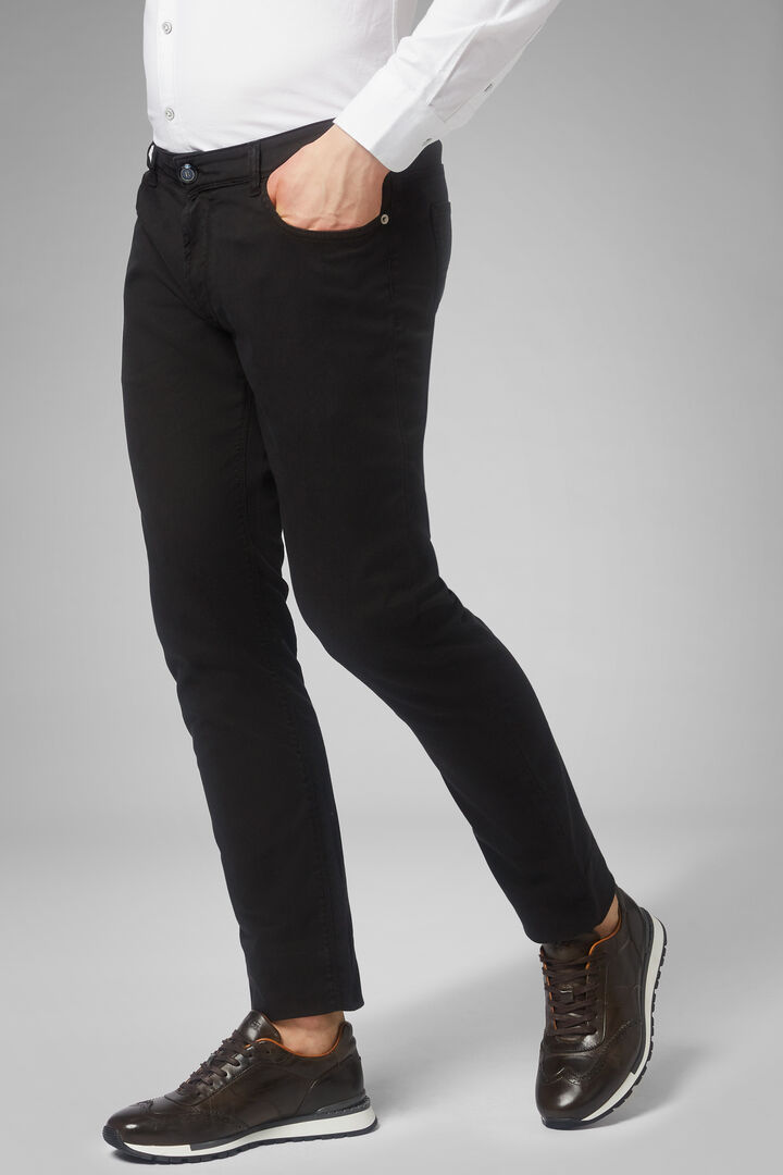 Pantalón Con 5 Bolsillos De Algodón Gabardina Regular Fit De Tencel, Negro, hi-res