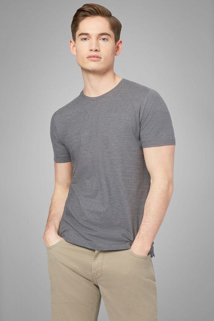 T-Shirt Grau Aus Baumwolljersey, Grau, hi-res