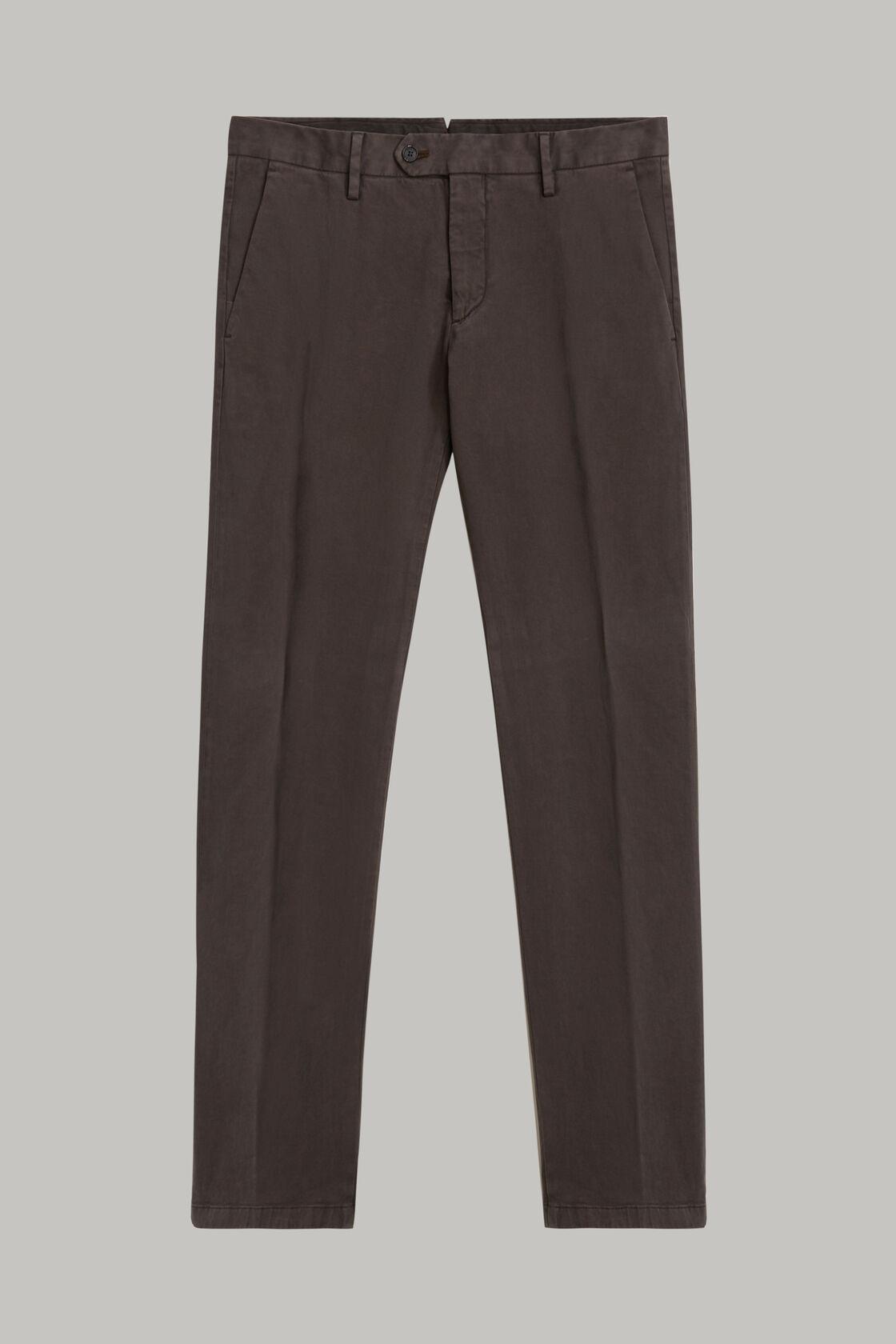 Pantaloni in raso di cotone elasticizzato regular, Antracite, hi-res