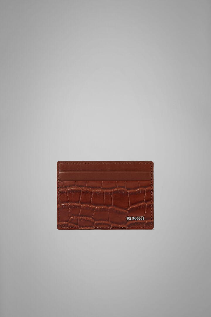 Faux Croc Print Leather Credit Card Holder, Burnt, hi-res
