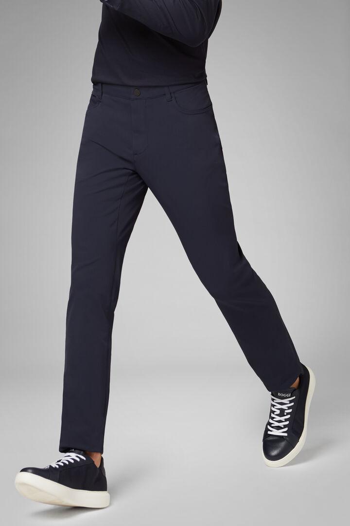 Regular Fit Technical Nylon Trousers, Navy blue, hi-res