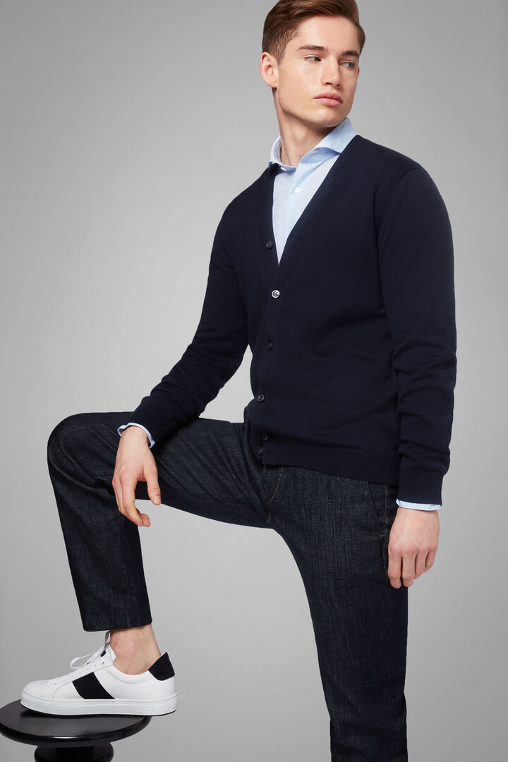 Pima Cotton Cardigan, Navy blue, hi-res