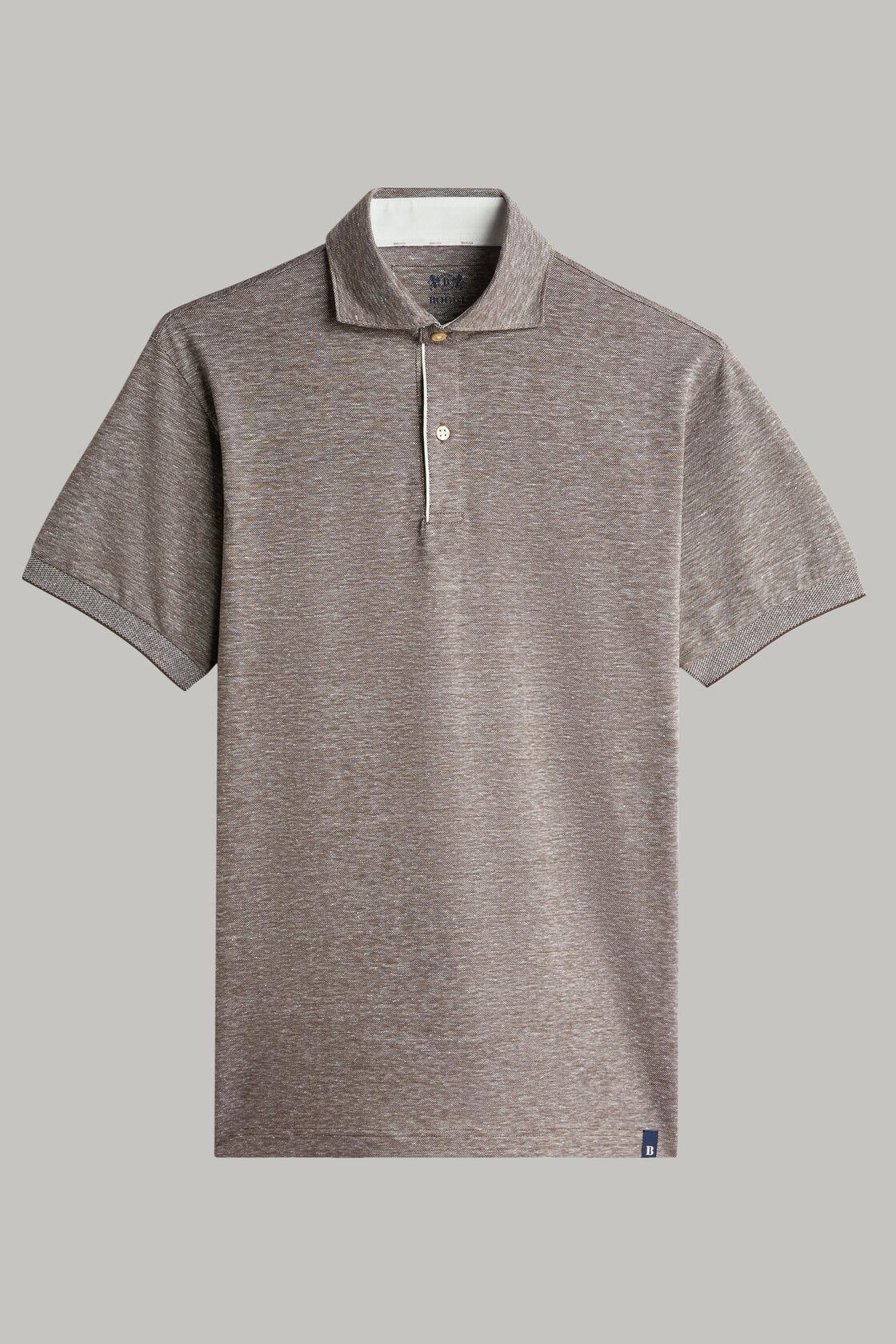 Polo aus baumwollpiqué und leinen regular fit, Braun, hi-res