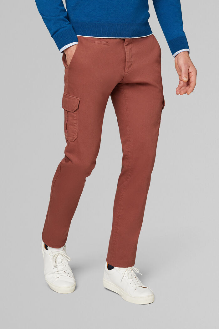 SLIM FIT STRETCH COTTON BULL DENIM TROUSERS WITH CARGO POCKETS, , hi-res