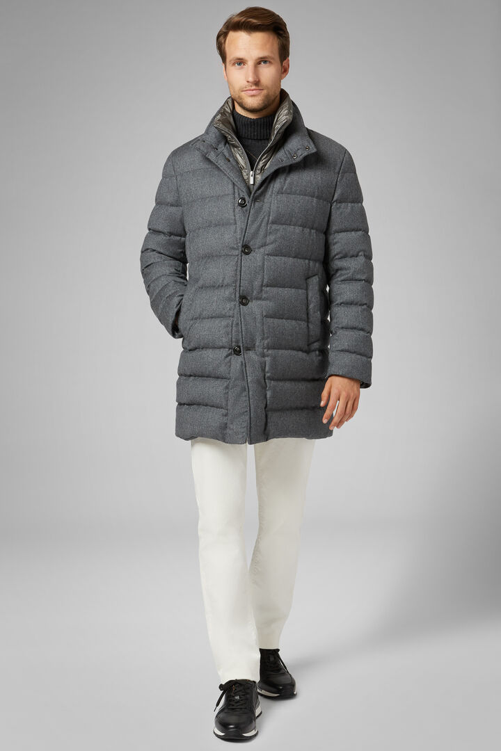 Quilted Wool Coat With Bib, Grey, hi-res