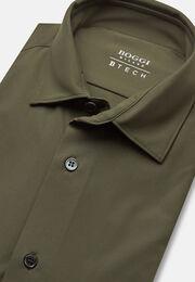 Olivgrünes hemd aus elastischem nylon slim, Militärgrün, hi-res