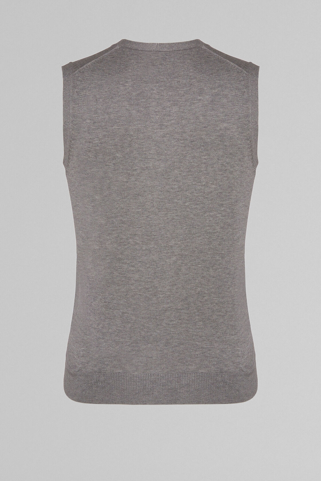 PIMA COTTON KNITTED GILET, GREY, hi-res