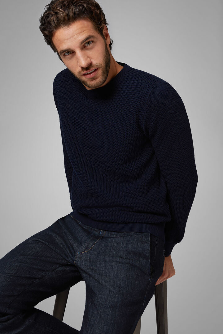 Cotton Round Neck Jumper, Navy blue, hi-res