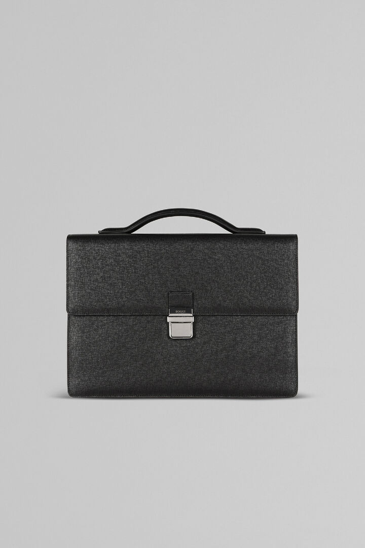 Leather Double-Pocket Briefcase With Clasp, Black, hi-res