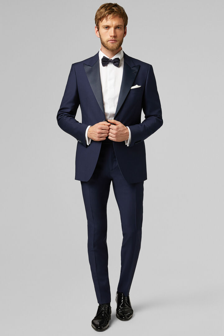 Navy Cannes Dinner Suit With Peak Lapels, Navy blue, hi-res