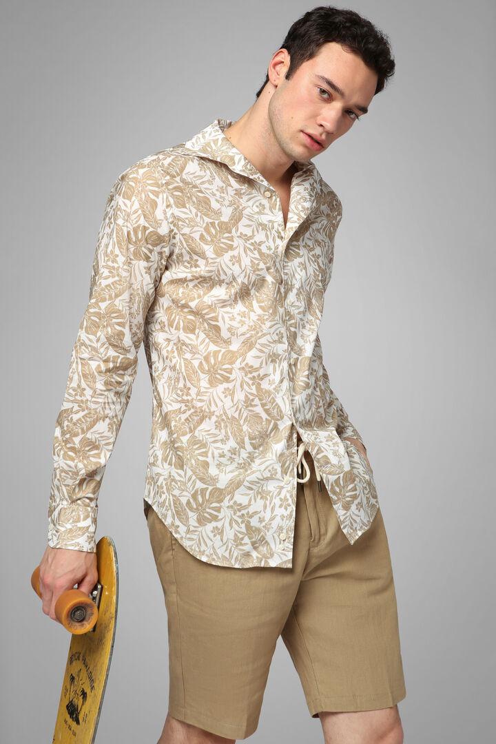 Regular Fit Beige Print Shirt With Cuban Collar, Beige, hi-res