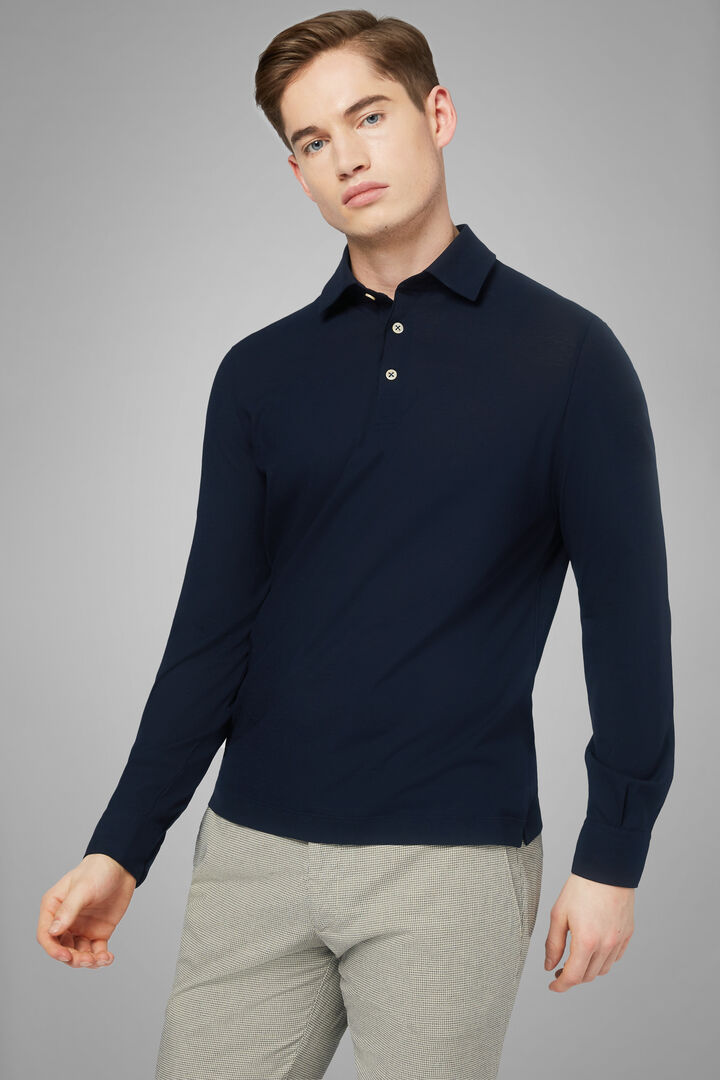 Polo Navy In Jersey Cotone Crepe, Navy, hi-res