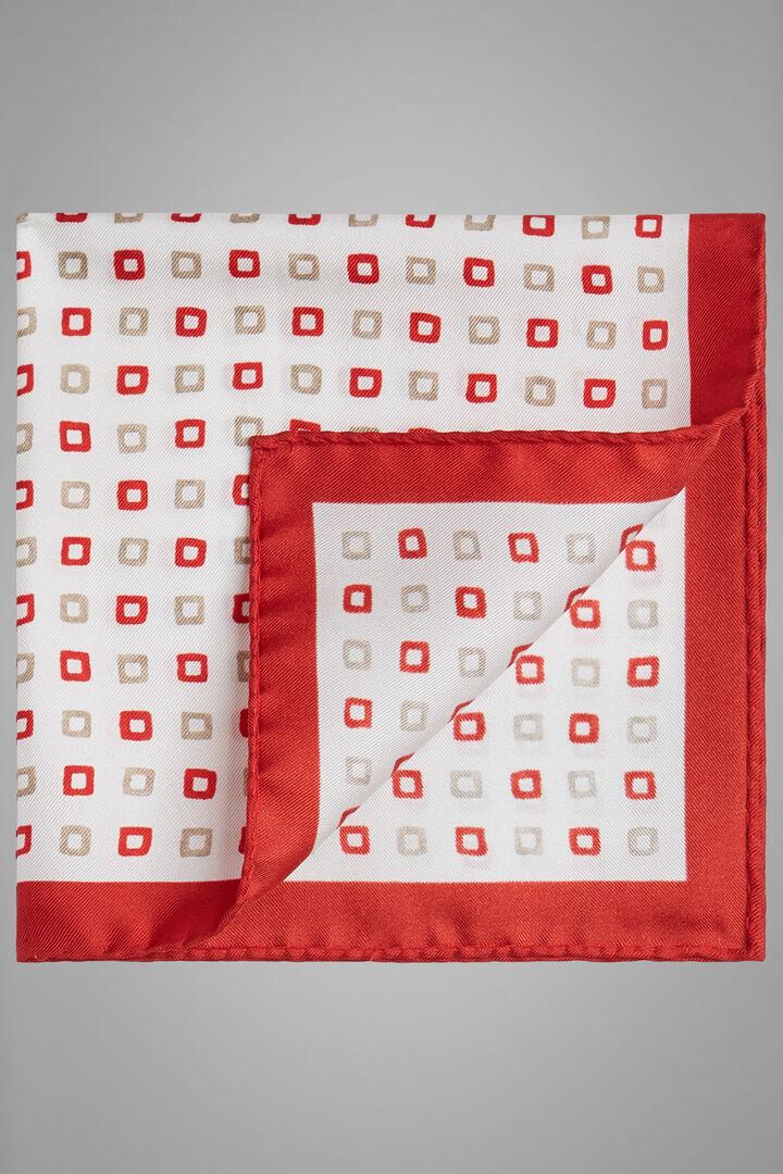 Einstecktuch Aus Seide Mit Punkten, Weiß Rot, hi-res