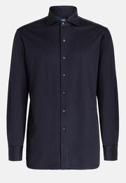 Polohemd Blau Mit Kent-Kragen Slim Fit, Navy blau, hi-res