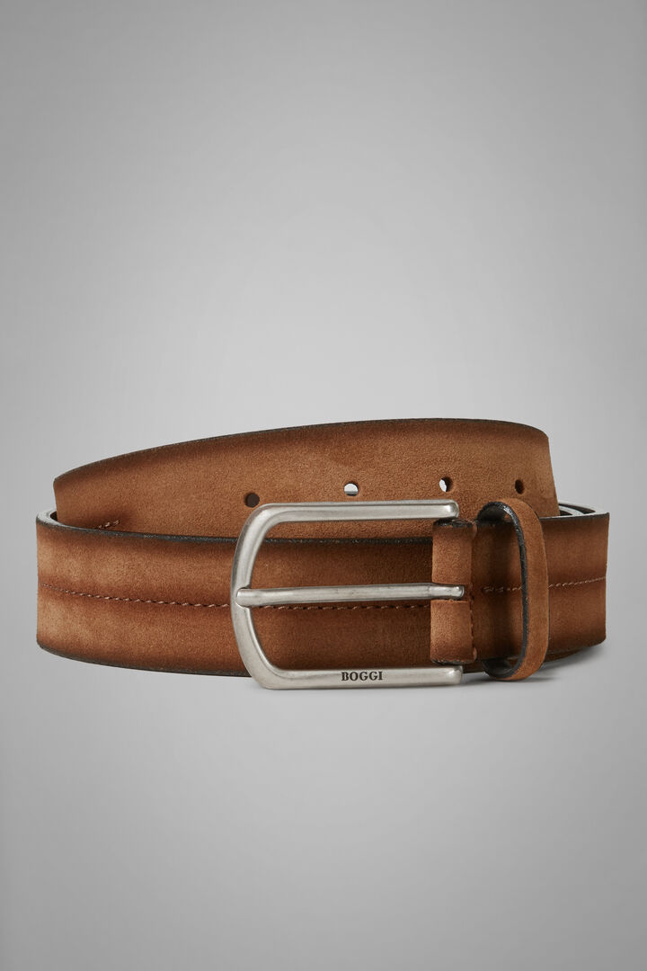 Suede Belt With Stamped Detail, Brown, hi-res