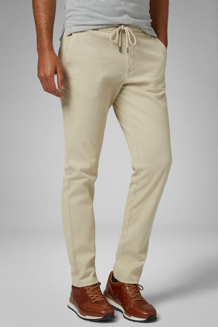 Pantalone In Cotone Stretch Con Coulisse Slim, Naturale, hi-res