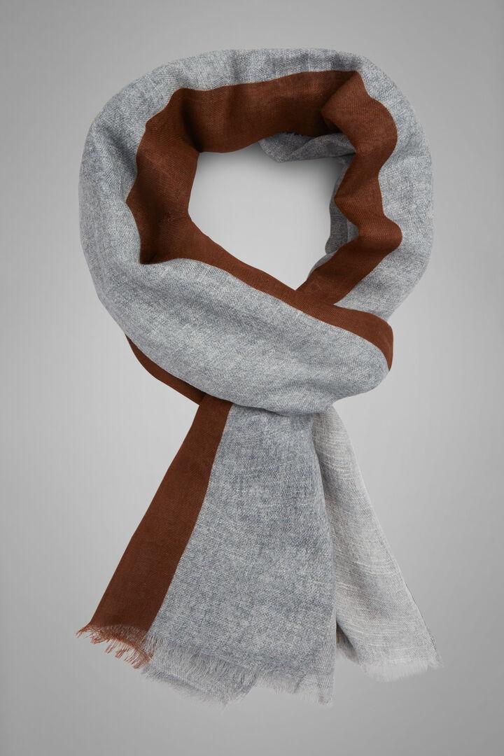 Paisley Print Cotton & Linen Scarf, Grey - Blue, hi-res