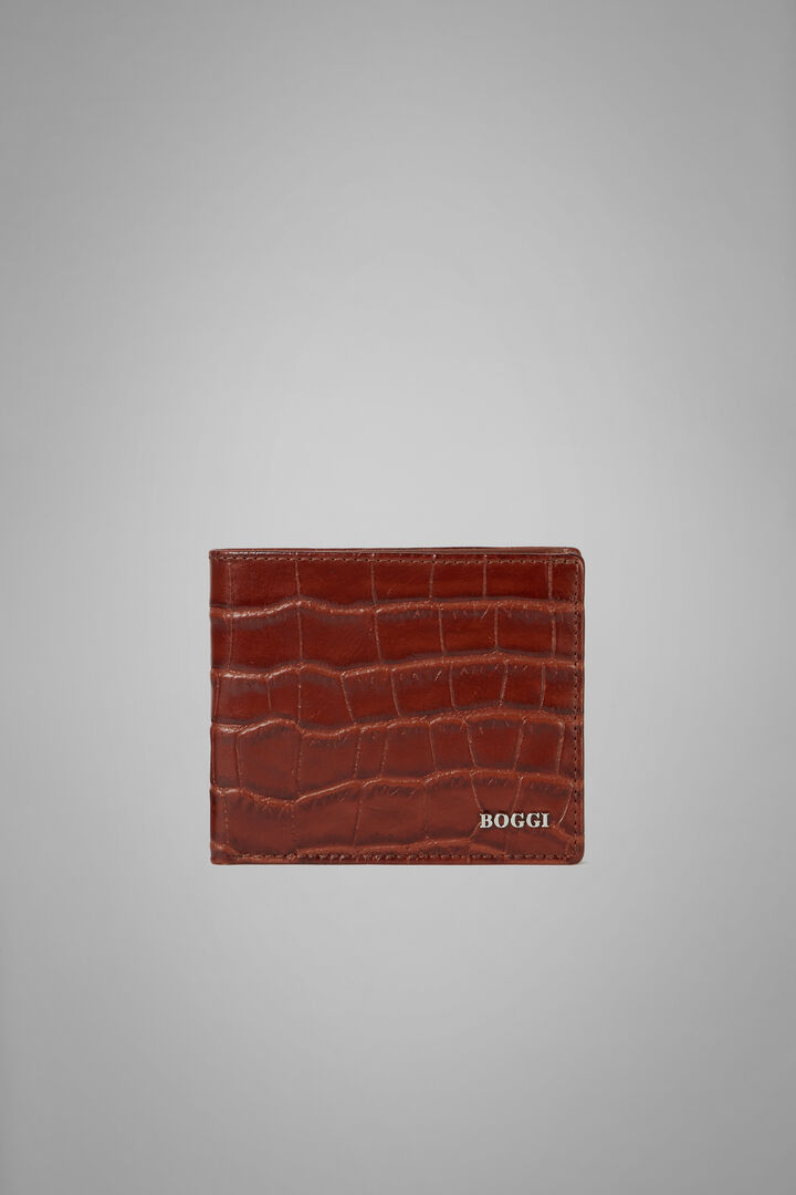 8-Compartment Faux Croc Leather Wallet, Burnt, hi-res
