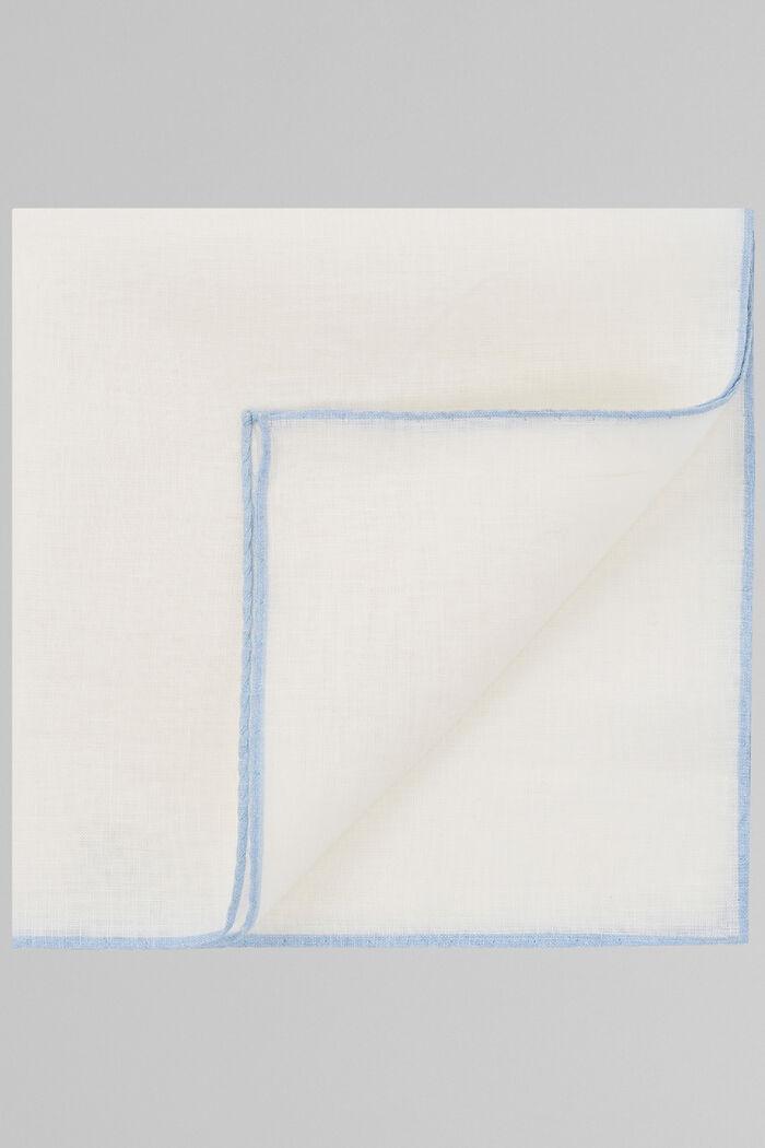 Pochette Blanche Avec Liseré Bleu Ciel En Pur Lin, , hi-res