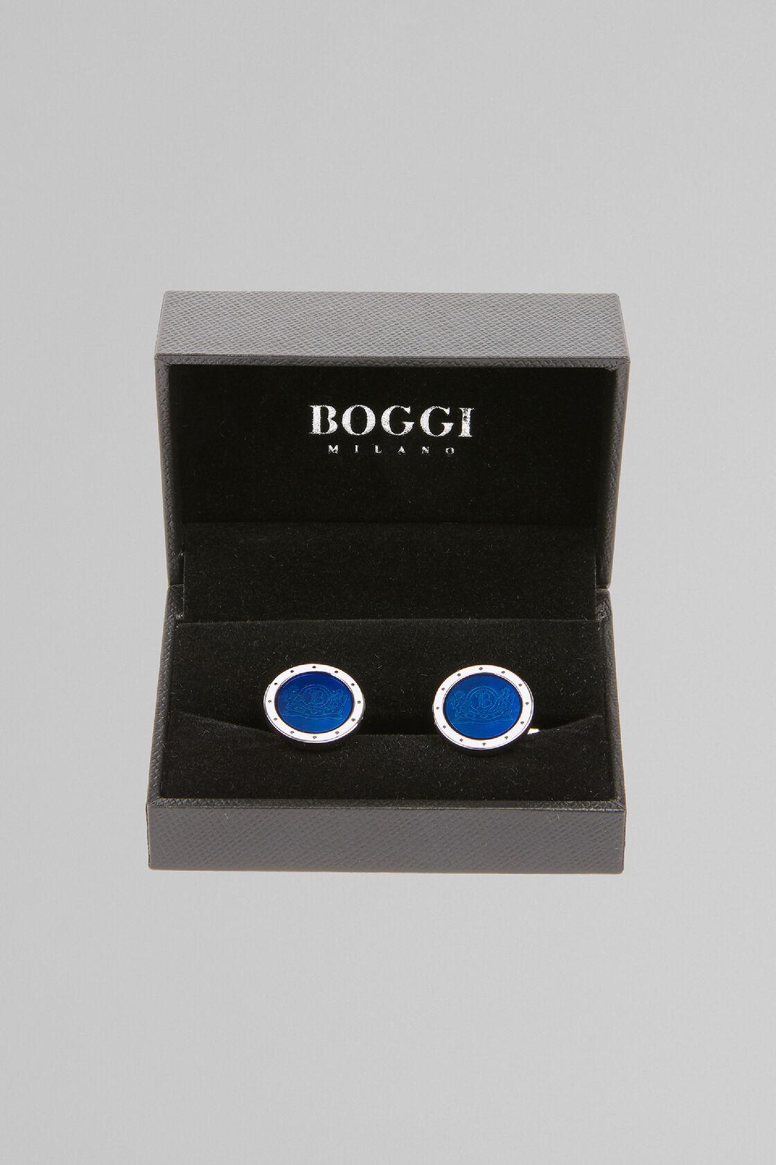 Boutons De Manchette Colorés Avec Logo, Bleu, hi-res