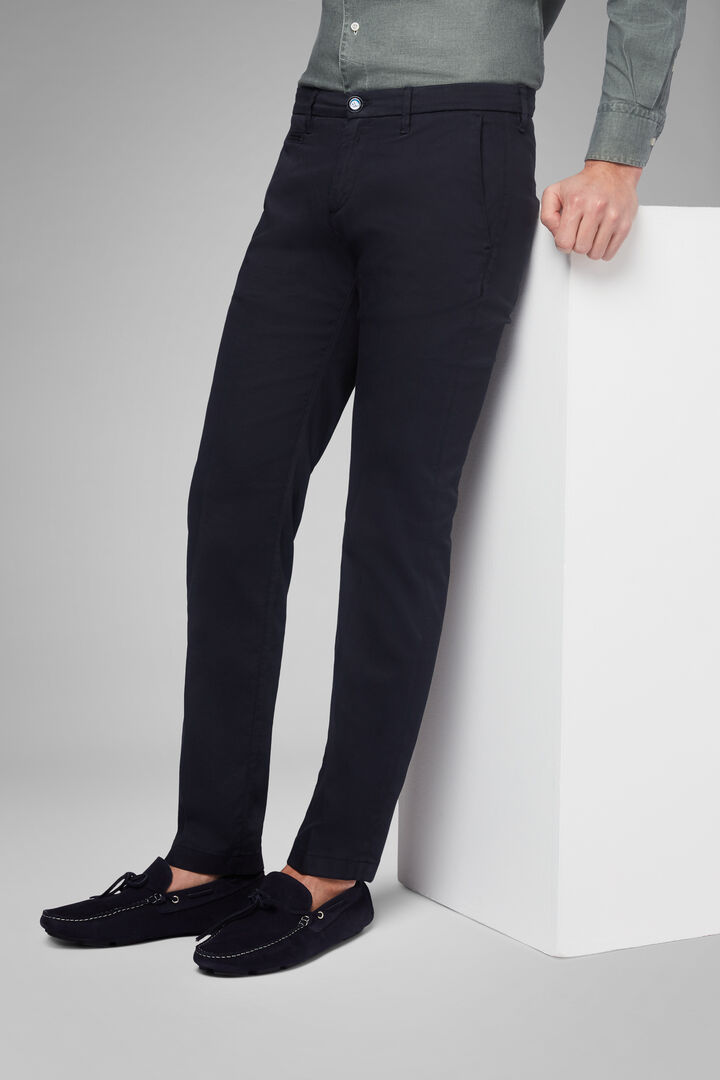 Slim Fit Stretch Panama Cotton And Tencel Trousers, Blue, hi-res