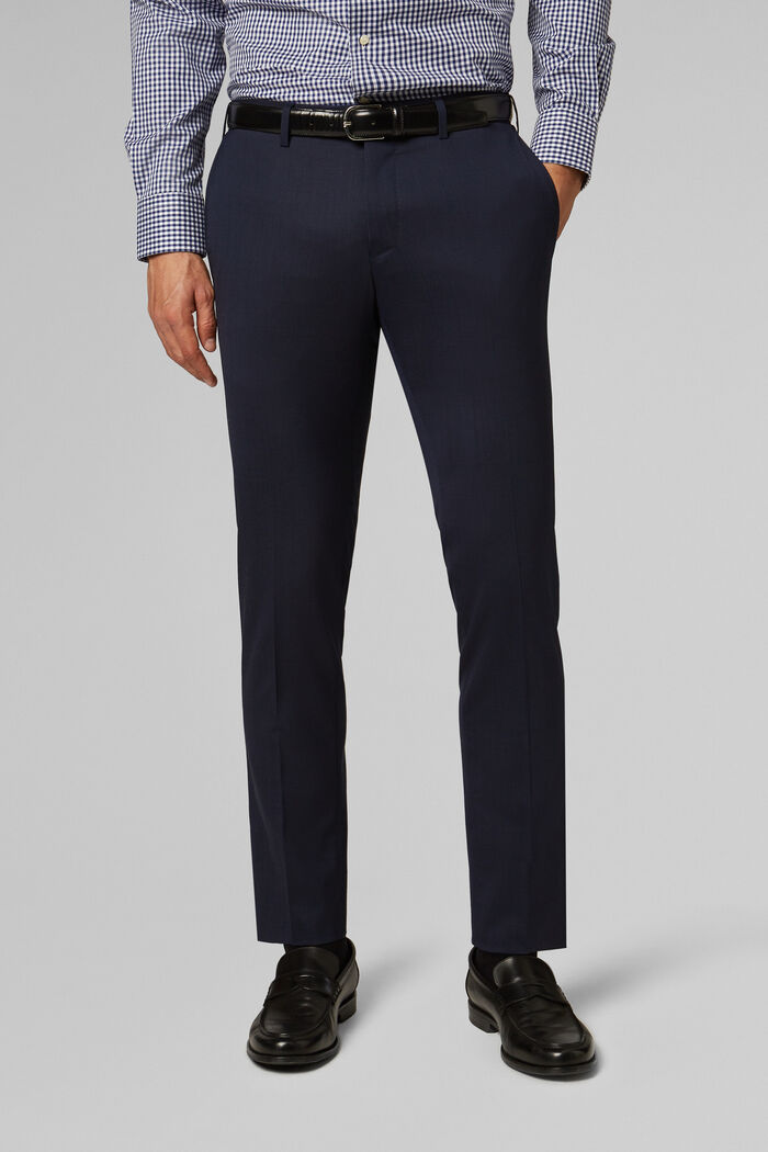 PANTALONE IN TELA DI LANA STRETCH SLIM FIT, , hi-res