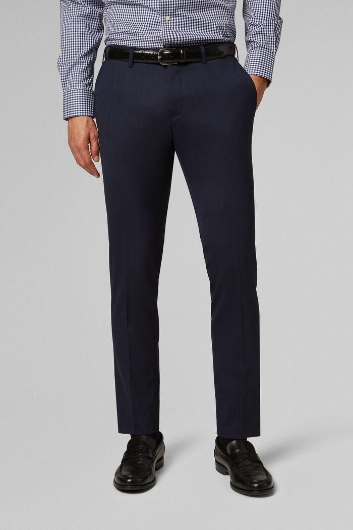 Pantalon En Toile De Laine Stretch Coupe Slim, bleu marine, hi-res