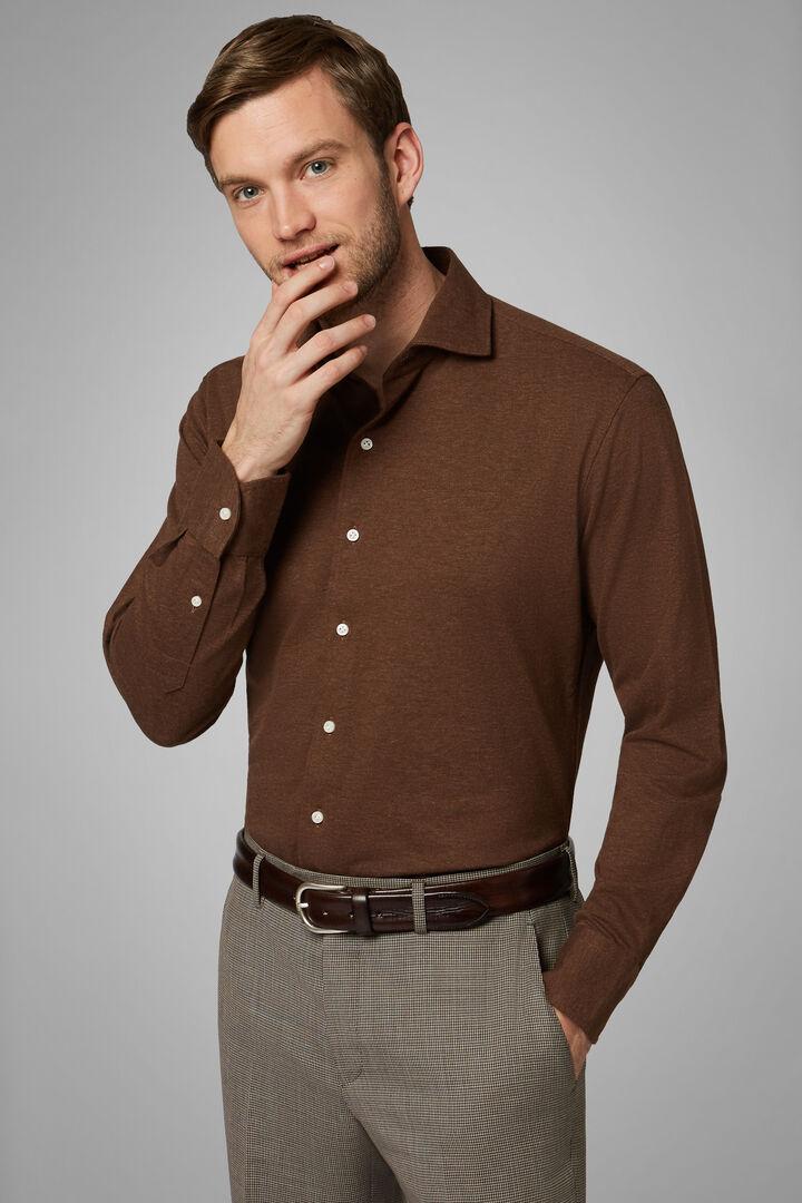 Regular Fit Dark Brown Casual Shirt With Closed Collar, Dark brown, hi-res