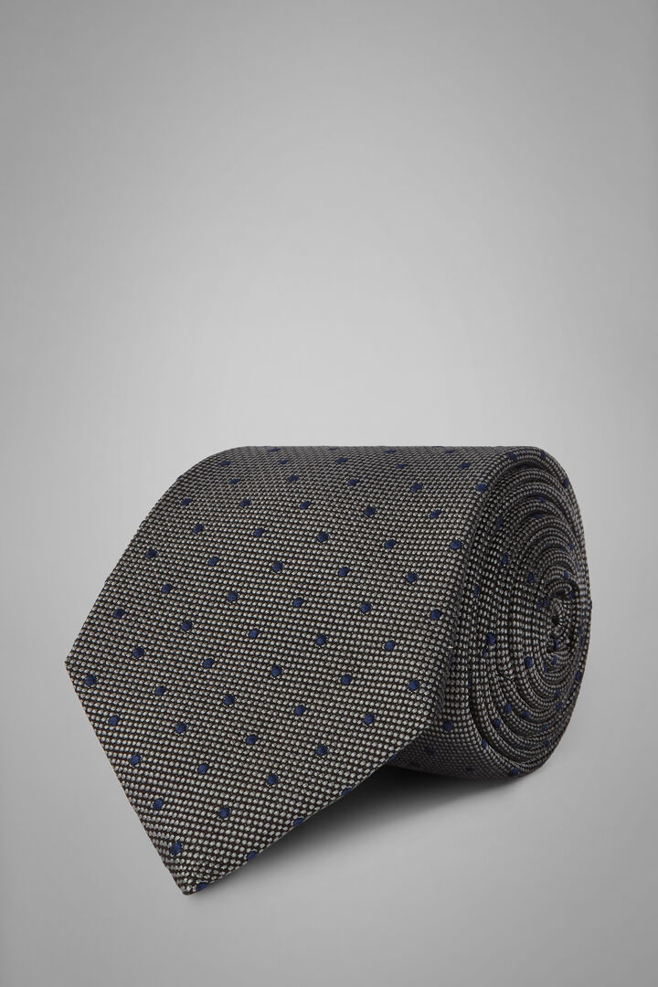 Polka Dot Silk/Cotton Jacquard Tie, Grey - Blue, hi-res