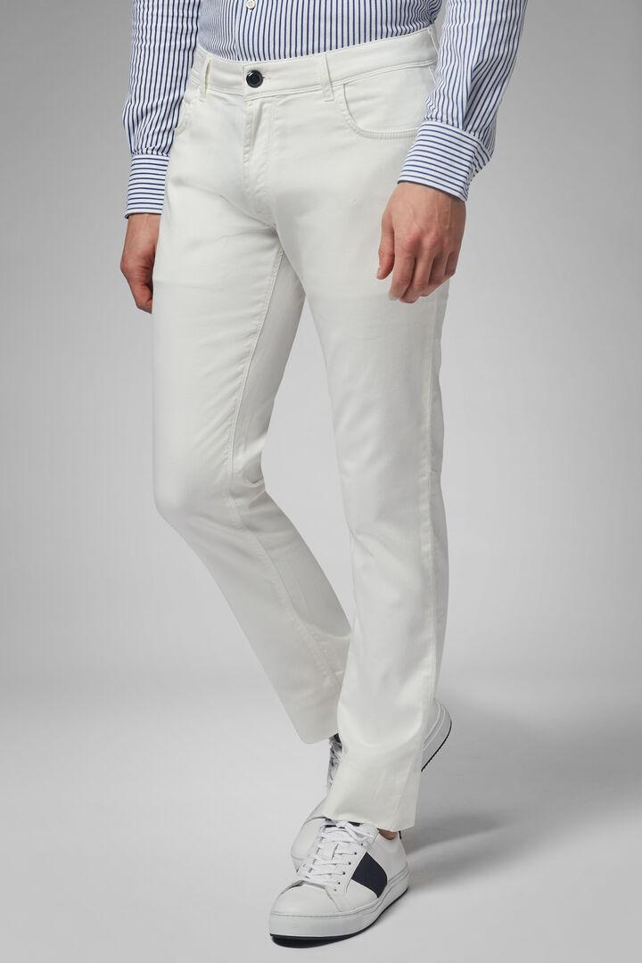 Pantalon 5 Poches En Gabardine De Coton Tencel Coupe Droite, blanc, hi-res
