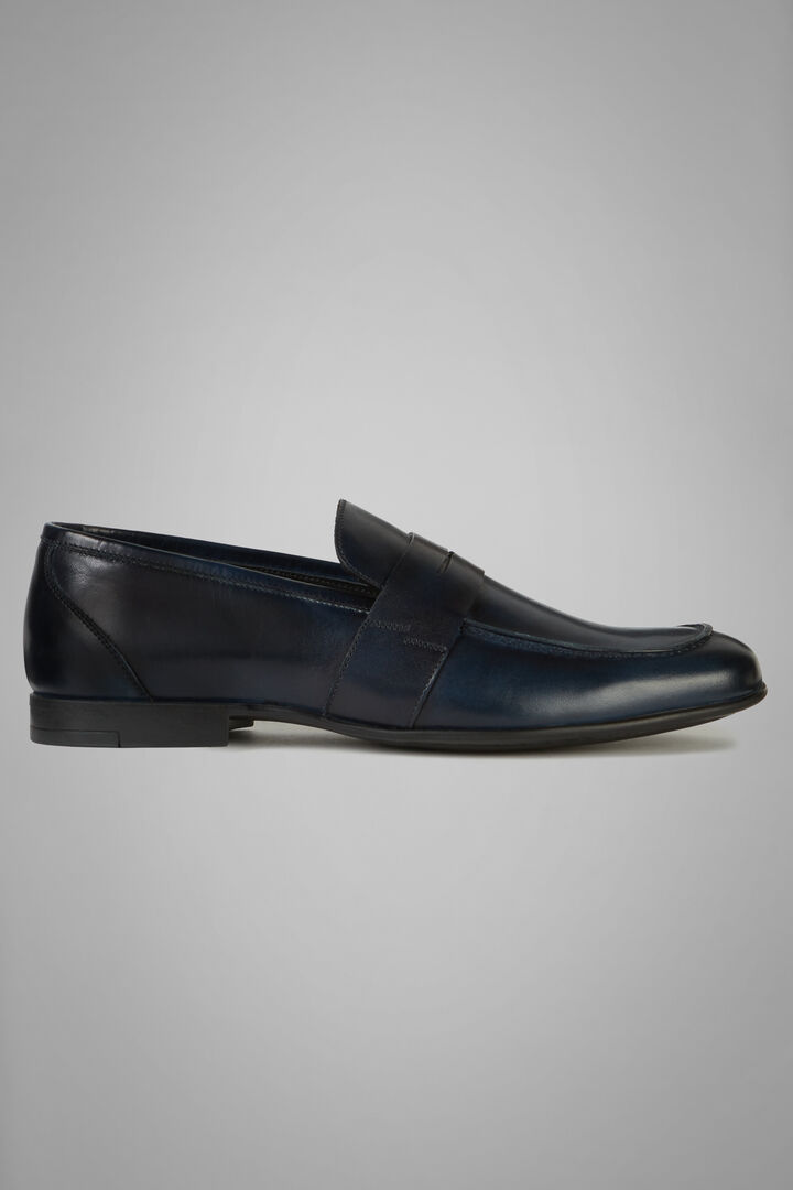 Leather Penny Loafers, Navy blue, hi-res