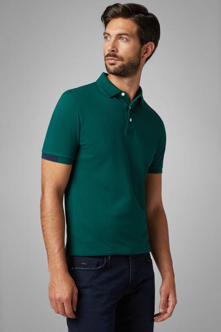 Polo Verde In Pique Di Cotone Tencel Stretch, Verde, hi-res