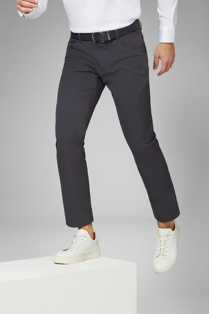 Pantalón Regular Fit De Tejido De Alto Tendimiento De Nailon Con 5 Bolsillos, Carbón, hi-res