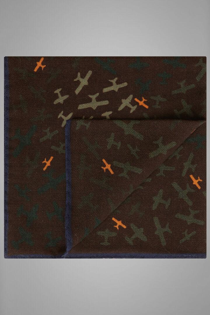 Aeroplane Print Wool/Silk Pocket Square, Dark brown, hi-res