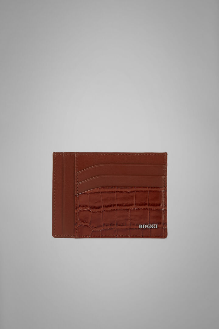 Large Faux Croc Print Leather Credit Card Holder, Burnt, hi-res